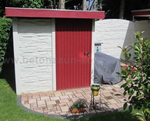 BETONZAUN KOWALEWSKI - Gartenhaus Chamäleon mit Metalltür