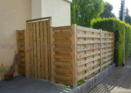 BETONZAUN KOWALEWSKI - Beton Holz Kombi, gerade Ausführung mit Holztür einflügelig