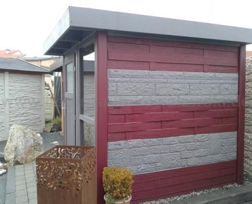 BETONZAUN KOWALEWSKI - Gartenhaus Chamäleon verschiedene Motive, Farben Basalt 11 und RAL 3004