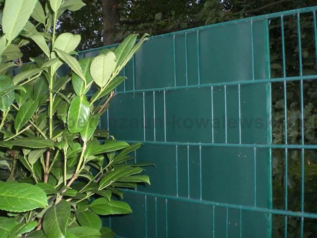 BETONZAUN KOWALEWSKI - Metallzaun in RAL 6005 mit Sichtschutzstreifen in RAL 6005