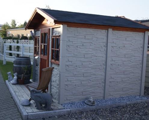 BETONZAUN KOWALEWSKI - Gartenhaus Bausatz A Farbe Schiefer 15