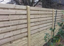 BETONZAUN KOWALEWSKI - Beton- Holz-Kombi Zaunanlage mit 2 Unterplatten Betonzaun Standard Typ Antik