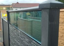 BETONZAUN KOWALEWSKI - Betonzaun Standatd Premium Typ Nizza mit oberer Platte als Glasplatte