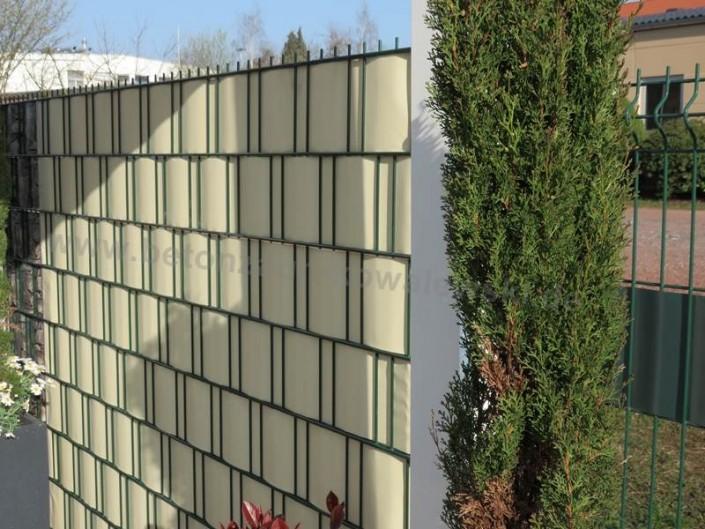 BETONZAUN KOWALEWSKI - Doppelstabmatte gefüllt mit Sichtschutzstreifen in Beige