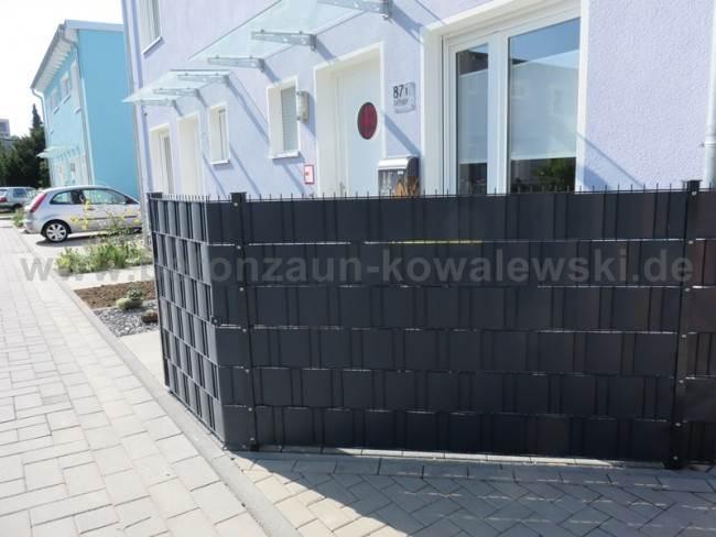 BETONZAUN KOWALEWSKI - Doppelstabmatte mit Sichtschutzstreifen in Anthrazit