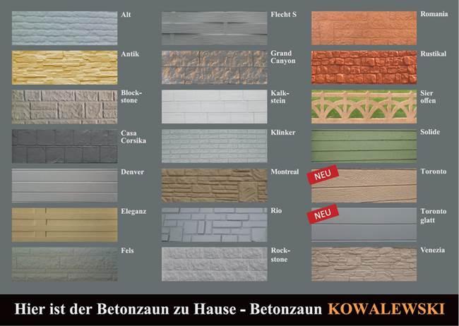 Betonzäune betonzaun standard betonzaeune kowalewski