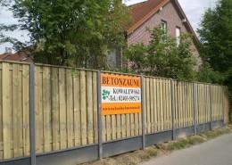 BETONZAUN KOWALEWSKI -Premium Holz Kombi gerade mit Abdeckung