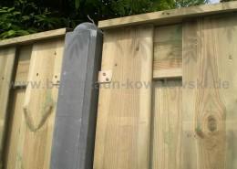 BETONZAUN KOWALEWSKI - Premium Holz Kombi mit Pfosten runder Kopf 10x10