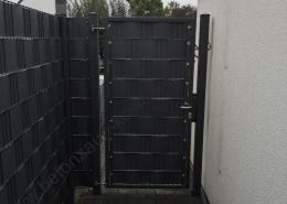 BETONZAUN KOWALEWSKI - Drehflügel Toranlage Vario Compact gefüllt mit Sichtschutzstreifen Hart in Anthrazit