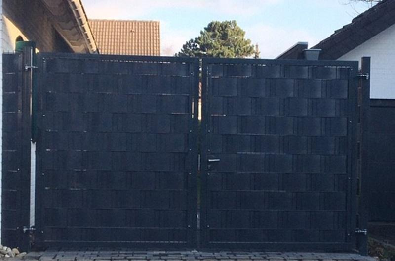 BETONZAUN KOWALEWSKI - Drehflügel Toranlage Vario zweiflügelig gefüllt mit Sichtschutz Hart