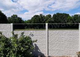 BETONZAUN KOWALEWSKI - Betonzaun Standard Alt in Schiefer 16 mit Glasscheiben